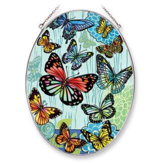 Large Oval Hugs and Kisses Butterflies Suncatcher