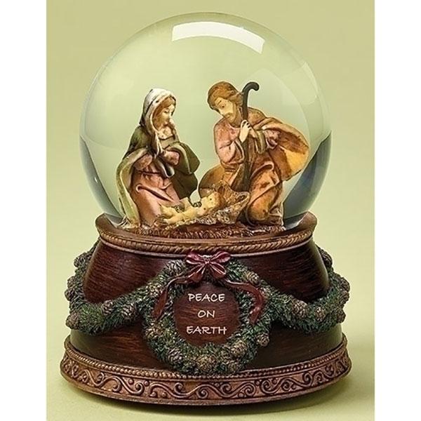 "5.75"" Fontanini The First Noel Musical Religious Nativity Glitterdome"