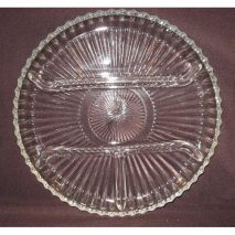 Indiana Glass #260 Clear 4 Part Relish Tray with Silver Serving Tray
