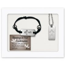 Communion Cross Bracelet & Cross Tag Necklace Jewelry Set Gift Boxed