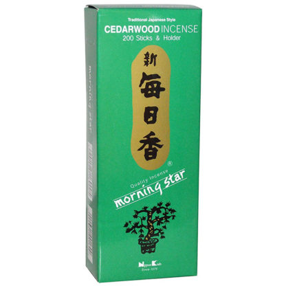 Nippon Kodo Morning Star Incense Cedarwood 200 Sticks and Holder