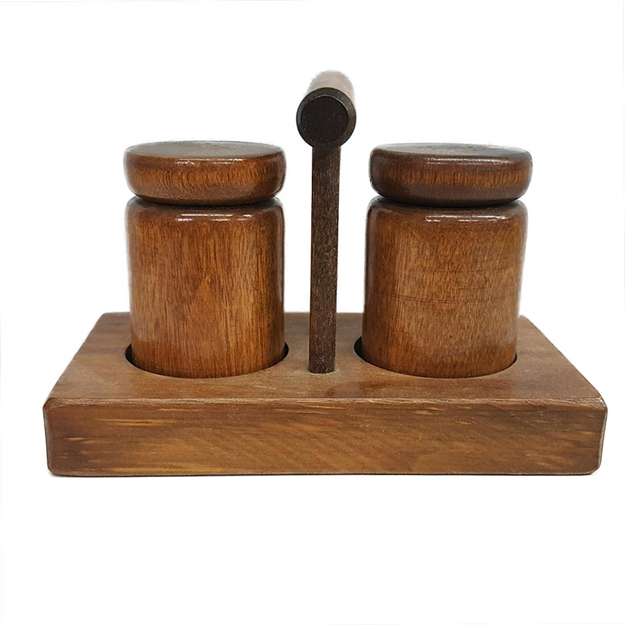 Vermont Wood Salt and Pepper Shaker Set with Holder