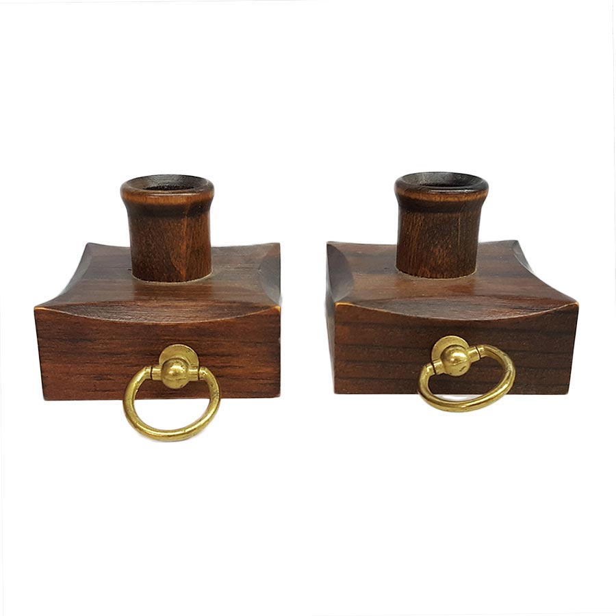 Vermont Wood Candle Holder Pair