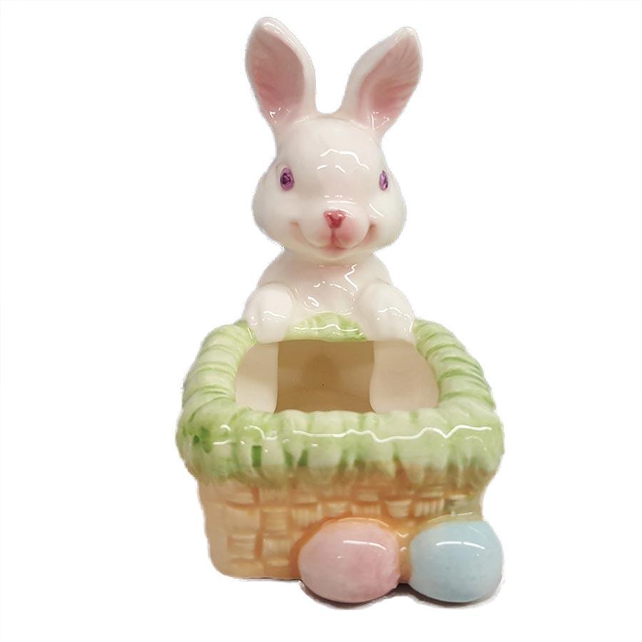 Porcelain Bunny Holding On Side of Basket