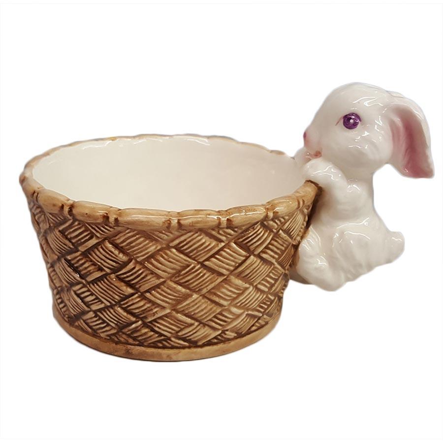 Porcelain Bunny Climbing On Side of Basket