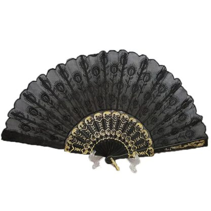Black Embroidered Lace Hand Fan Black Peacock Tail