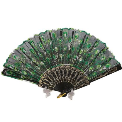 Black Embroidered Lace Hand Fan Green Peacock Tail
