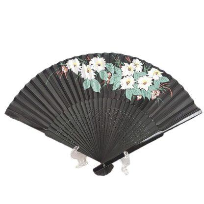Chinese Black Silk Hand Fan White Flowers