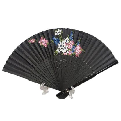 Chinese Black Silk Hand Fan White Pink & Blue Flowers