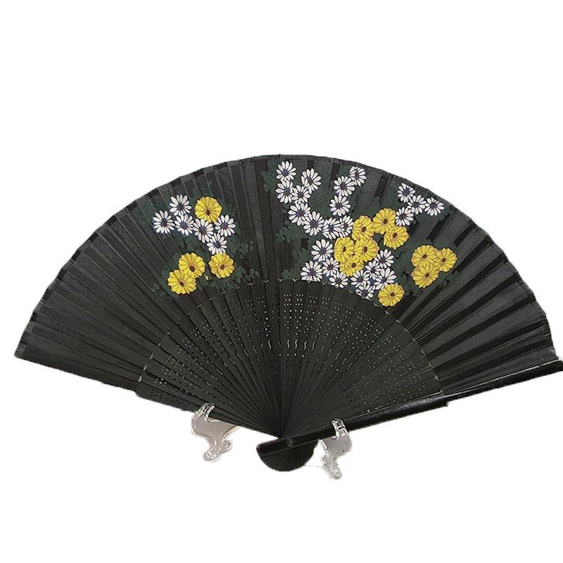 Chinese Black Silk Hand Fan White & Yellow Flowers