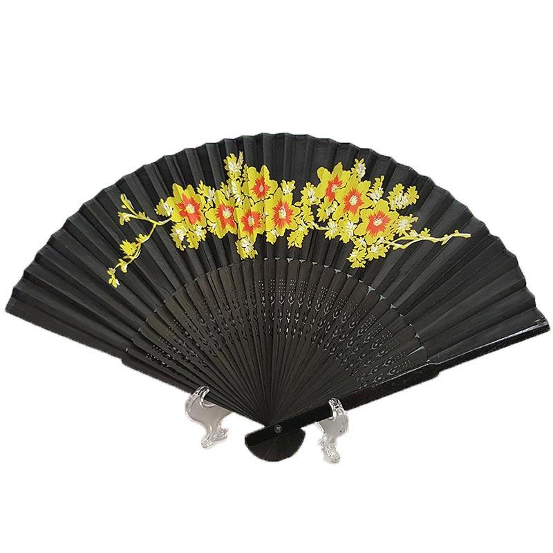 Chinese Black Silk Hand Fan Yellow Flowers