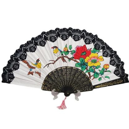 Chinese Cotton Hand Fan Bird & Roses Black Lace