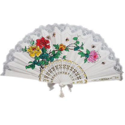 Cotton Embroidered Hand Fan Roses White Lace