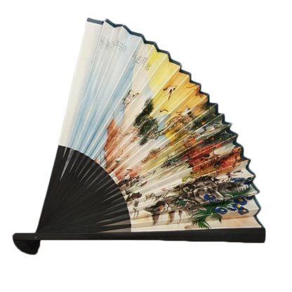 White Paper Oriental Hand Fan Crane Print