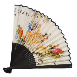White Paper Oriental Hand Fan Peacock Print