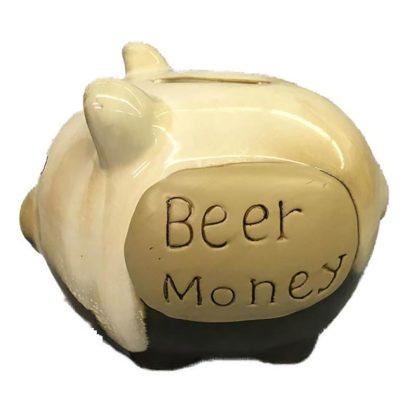 Ceramic Pottery Mini Piggy Bank - Beer Money