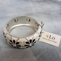 Young's Victoria Leland Designs White Bangle Bracelet With Flowers
