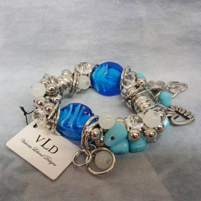 Young's Victoria Leland Designs Chunky Blue & Silver Bracelet