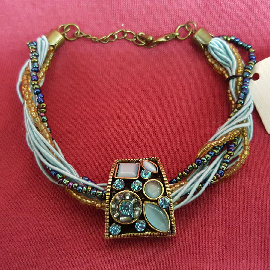 Young's Victoria Leland Designs Light Blue & Gold Bracelet