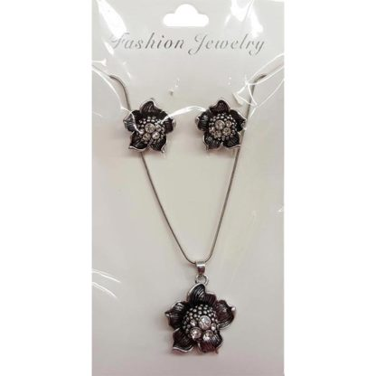 Victoria Leland Designs Black & Silver Pendant Jewelry Set