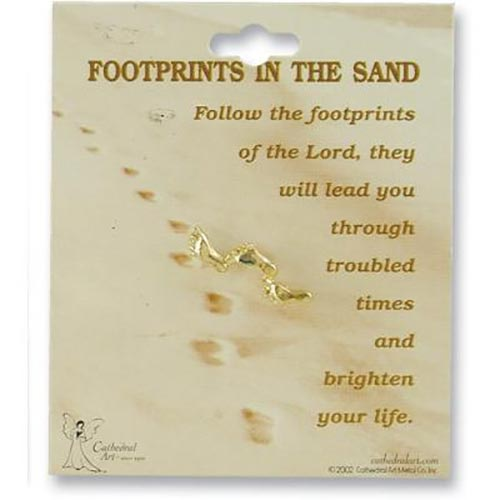 Cathedral Art Gold Footprints In The Sand Lapel Pin Carded