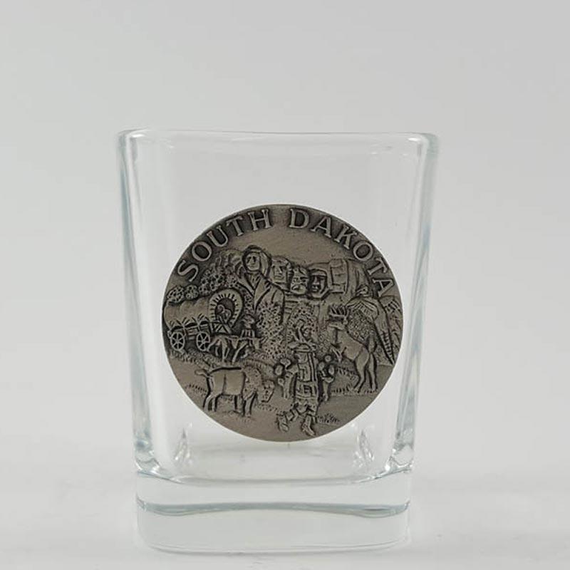 South Dakota Shot Glass with Pewter Mt Rushmore