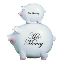 Young's His Money/Her Money Ceramic Piggy Bank, 8-Inch