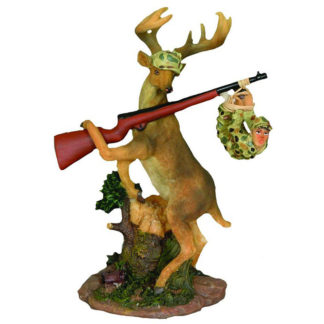 Young's Deer Gets Hunter Resin Figurine, 7-Inch