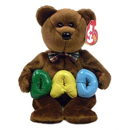 """Ty Beanie Baby - Dad the Bear (Yellow """"A"""")"""