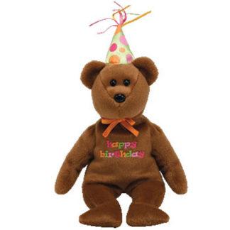 Ty Beanie Baby - Happy Birthday the Bear 2008 Brown w/ hat
