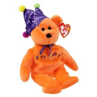 Ty Beanie Baby - Happy Birthday the Bear Orange - w/ Hat