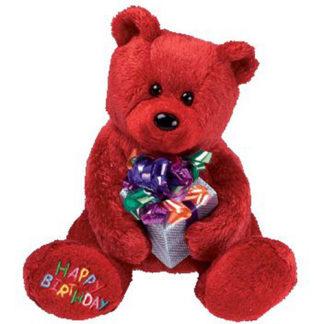 Ty Beanie Baby - Happy Birthday the Bear Red - w/ Present