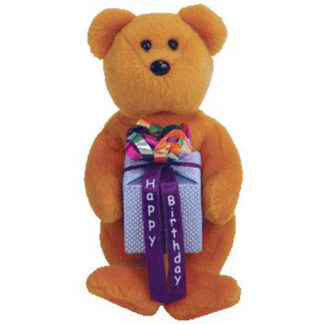 Ty Beanie Baby Mini - Happy Birthday the Bear Brown - w/ Present