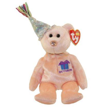Ty Beanie Baby - October the Teddy Birthday Bear (w/ hat)