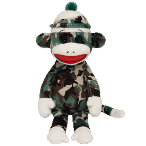 Ty Beanie Baby - Sock Monkey Camouflage