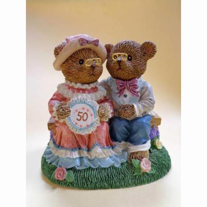 Russ Berrie Teddy Town Golden Memories of Our Wedding Day Figurine