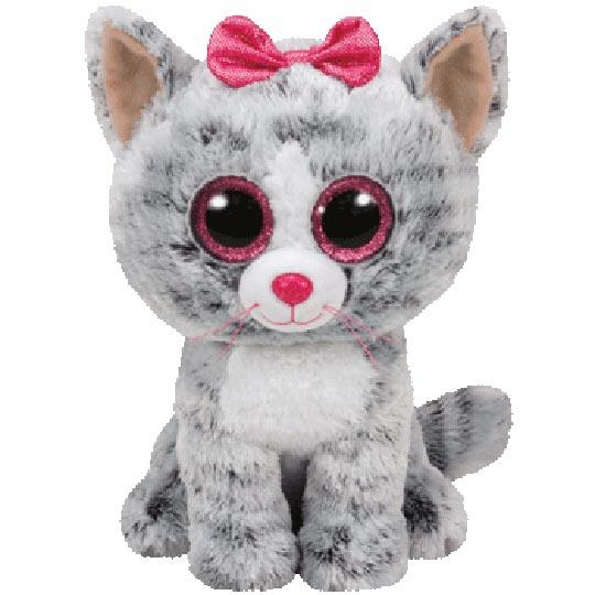 TY Beanie Boos - Kiki the Grey Tabby Cat (Medium Size)