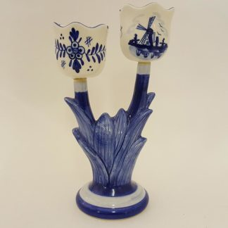 Delft Blue Double Tulip Candle Holder