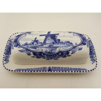 Delft Blue Holland Windmill Butter Dish