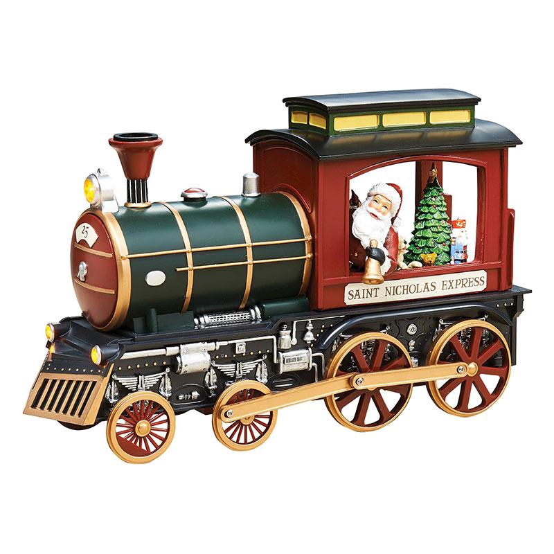 LED Train Santa & Rotating Elf