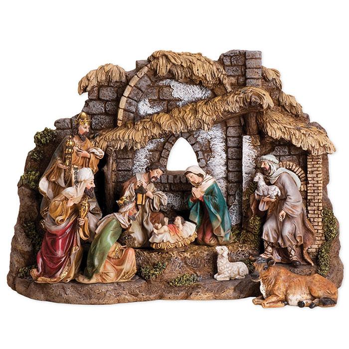 Joseph Studio 10 Piece Christmas Nativity Set with Stable