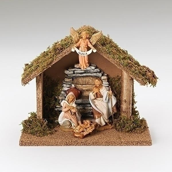 Fontanini 4 Piece Italian Christmas Nativity Set with Wooden Stable
