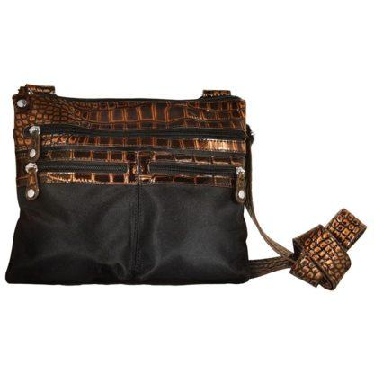 Sanis Emilie Messenger Bag with RFID Shielding, Black Microfiber