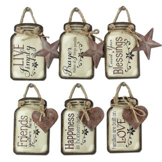 "Young's Tin Mason Jar Wall Hangers 6 Assorted Set, 5.25"""