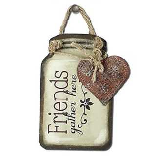 """Young's Friends Gather Here Tin Mason Jar Wall Hangers, 5.25"""""""