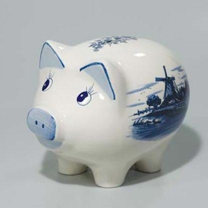 Large Ceramic Blue and White Delft Piggy Bank