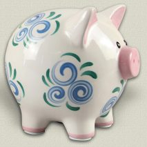 Young's Ceramic Piggy Bank - Blue Swirl