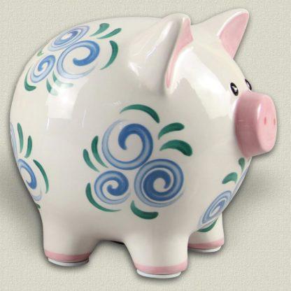Young's Ceramic Piggy Bank - Blue Swirl