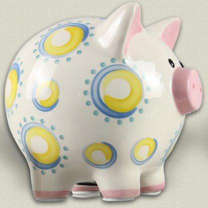 Young's Ceramic Piggy Bank - Yellow Swirl