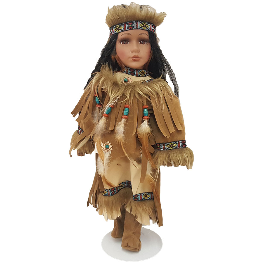"Porcelain Native American Girl Doll 17"" H"